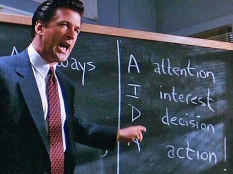 Alec Baldwin going over the ABC's of selling