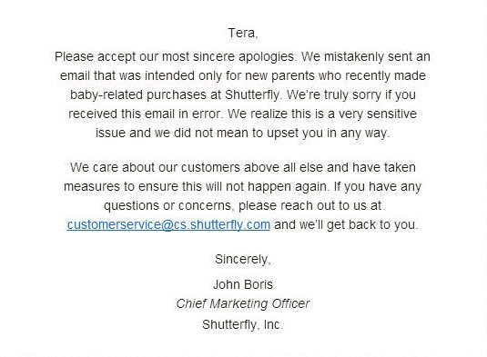 An example of an Oops Email in Email Marketing