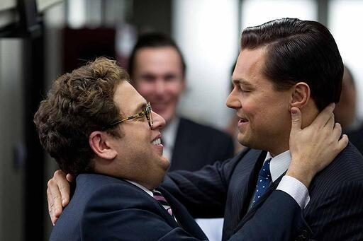 The Wolf of Wallstreet - Donnie and Jordan hugging